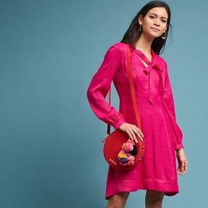 Anthropologie | Gina Keyhole Pink Pussybow Dress